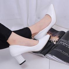 Женщины кожа Устойчивый каблук На каблуках (047108600)