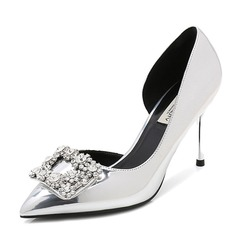 Women's Patent Leather Stiletto Heel Pumps Closed Toe With Rhinestone shoes (085155244)