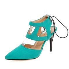 Женщины Замша Высокий тонкий каблук Закрытый мыс Босоножки обувь (085084232)