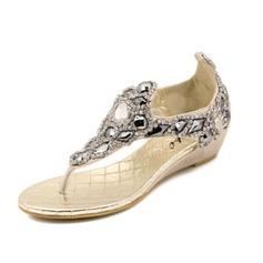 Женщины кожа Вид каблука Сандалии с горный хрусталь обувь (087063164)