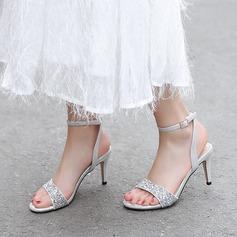 Mulheres Espumante Glitter Microfibra Couro Salto agulha Sandálias Bombas Peep toe com Lantejoulas Espumante Glitter Fivela sapatos (087208928)