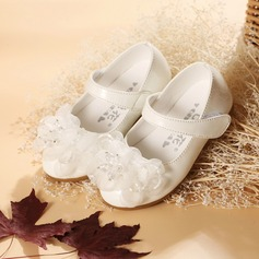Jentas Lukket Tå Leather flat Heel Flate sko Flower Girl Shoes med Bowknot (207095537)