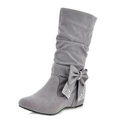 Женщины кожа Плоский каблук На плокой подошве Закрытый мыс Ботинки Сапоги до середины голени обувь (088100730)