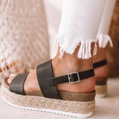 Mulheres Microfibra Couro Plataforma Sandálias sapatos (087202463)