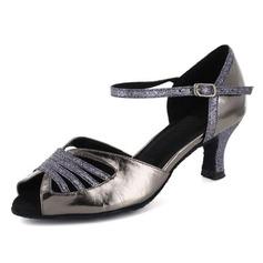 Женские рамы Лакированная кожа На каблуках Сандалии Латино с Ремешок на щиколотке Обувь для танцев (053021565)