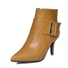 Vrouwen Kunstleer Stiletto Heel Pumps Closed Toe Laarzen Enkel Laarzen met Gesp schoenen (088071249)