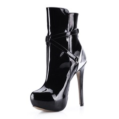 Lackleder Stöckel Absatz Plateauschuh Stiefelette mit Reißverschluss Schuhe (088036359)