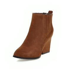 Женщины Замша Устойчивый каблук Полусапоги с Застежка-молния обувь (088097360)