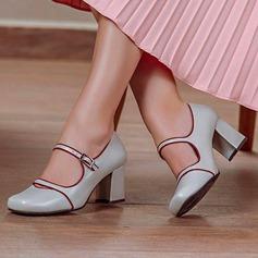 Mulheres Couro Salto robusto Bombas Fechados com Fivela sapatos (085211419)