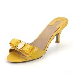 Lackleder Niederiger Absatz Sandalen Pantoffel mit Des Bowknot Schuhe (087044530)