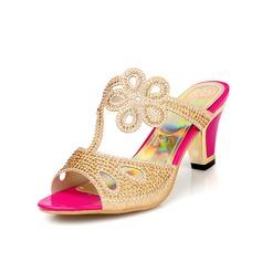 Naisten Keinonahasta Chunky heel Sandaalit Kantiohihnakengät jossa Tekojalokivi kengät (087048656)