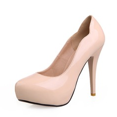 Couro Brilhante Salto cone Bombas Plataforma sapatos (085059819)