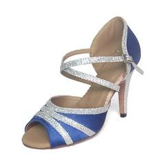 Женщины Атлас Мерцающая отделка На каблуках Сандалии Латино Обувь для танцев (053020313)