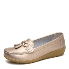 Женщины кожа Низкий каблук На плокой подошве Закрытый мыс с пряжка обувь (086164459)