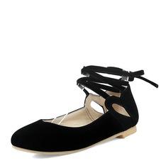 Женщины Замша Плоский каблук На плокой подошве Закрытый мыс с Шнуровка обувь (086153778)
