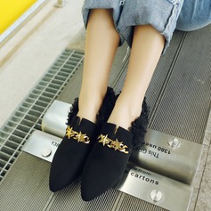 Women's Suede Flat Heel Flats Closed Toe With Chain shoes (086145722)