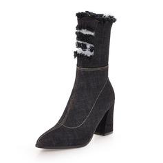 Femmes Treillis Talon bottier Bottes Bottes mi-mollets avec Zip chaussures (088172656)
