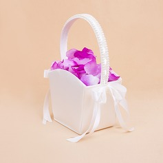 Elegant Flower Basket With Bow/Faux Pearl (102018039)