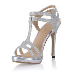 Glittrande Glitter Stilettklack Sandaler Pumps med Spänne skor (087054107)
