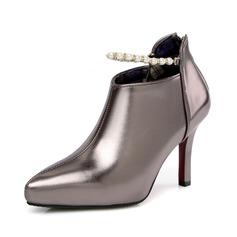 Женщины кожа Высокий тонкий каблук Полусапоги обувь (088091715)