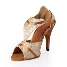 Женщины Мерцающая отделка На каблуках Латино с пряжка Обувь для танцев (053043312)