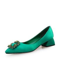 Женщины Шелковые Устойчивый каблук На каблуках Закрытый мыс с хрусталь обувь (085113634)