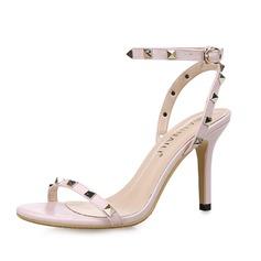 Женщины кожа Высокий тонкий каблук Сандалии Босоножки с заклепки обувь (087080102)