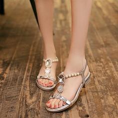 Женщины кожа Плоский каблук Сандалии с хрусталь Имитация Перл обувь (087114596)