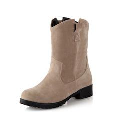 Женщины Замша Устойчивый каблук Полусапоги обувь (088076596)
