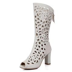 Aitoa nahkaa Chunky heel Knee saappaat jossa Vetoketju Ontto-out kengät (088043228)