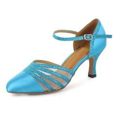Женщины Атлас Мерцающая отделка На каблуках На каблуках Бальные танцы с Ремешок на щиколотке Обувь для танцев (053021532)