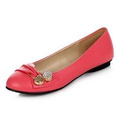 Kunstleer Flat Heel Flats Closed Toe met Strass Gesp schoenen (086043354)