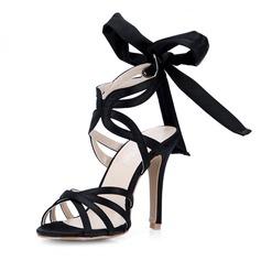 silkki kuten satiini Piikkikorko Sandaalit Avokkaat jossa Jousi kengät (087047296)