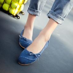 Женщины Замша Плоский каблук На плокой подошве Платформа с бантом обувь (086145706)