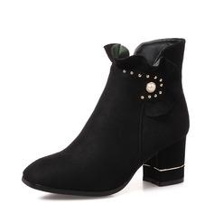 Женщины Замша Устойчивый каблук На каблуках Ботинки Полусапоги с жемчуг обувь (088139476)