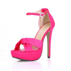 Women's Silk Like Satin Stiletto Heel Platform Sandals With Buckle Rhinestone (047016977)
