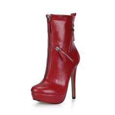 Mulheres Couro Salto agulha Bombas Plataforma Fechados Botas Bota no tornozelo com Zíper sapatos (088095462)