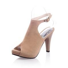 Mocka Stilettklack Sandaler Peep Toe Slingbacks med Spänne skor (087049262)