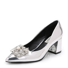 Women's Patent Leather Chunky Heel Pumps Closed Toe With Rhinestone shoes (085155250)