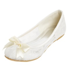 Femmes Dentelle Talon plat Bout fermé Chaussures plates avec Bowknot (047052679)