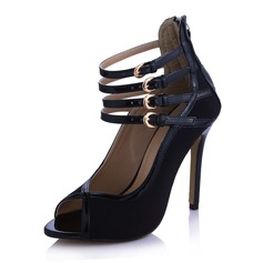 Suede Patent Leather Stiletto Heel Peep Toe Sandals With Buckle Zipper (087029168)