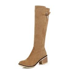 Женщины Замша Устойчивый каблук Ботинки Сапоги до колен с пряжка Застежка-молния обувь (088109565)