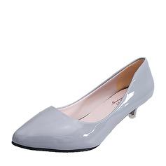 Женщины кожа Низкий каблук (рюмка) Закрытый мыс обувь (085150519)
