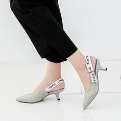 Женщины Ткань Высокий тонкий каблук Сандалии На каблуках Закрытый мыс с Лента обувь (087129672)