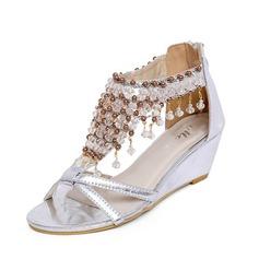 кожа Вид каблука Сандалии с горный хрусталь обувь (087063139)