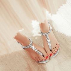 Mulheres Couro Sem salto Sem salto Sandálias Beach Wedding Shoes com Strass (047125406)