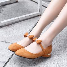 Женщины Замша Плоский каблук На плокой подошве Закрытый мыс с бантом обувь (086134595)