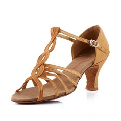 Women's Satin Heels Sandals Latin With T-Strap Dance Shoes (053041584)