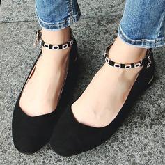 Женщины Замша Плоский каблук На плокой подошве Закрытый мыс с пряжка обувь (086134599)
