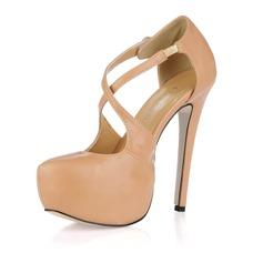 Leatherette Stiletto Heel Pumps Platform Closed Toe shoes (085017468)